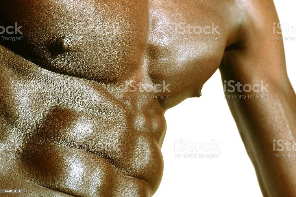 Bare-chested brawny black man royalty-free stock photo