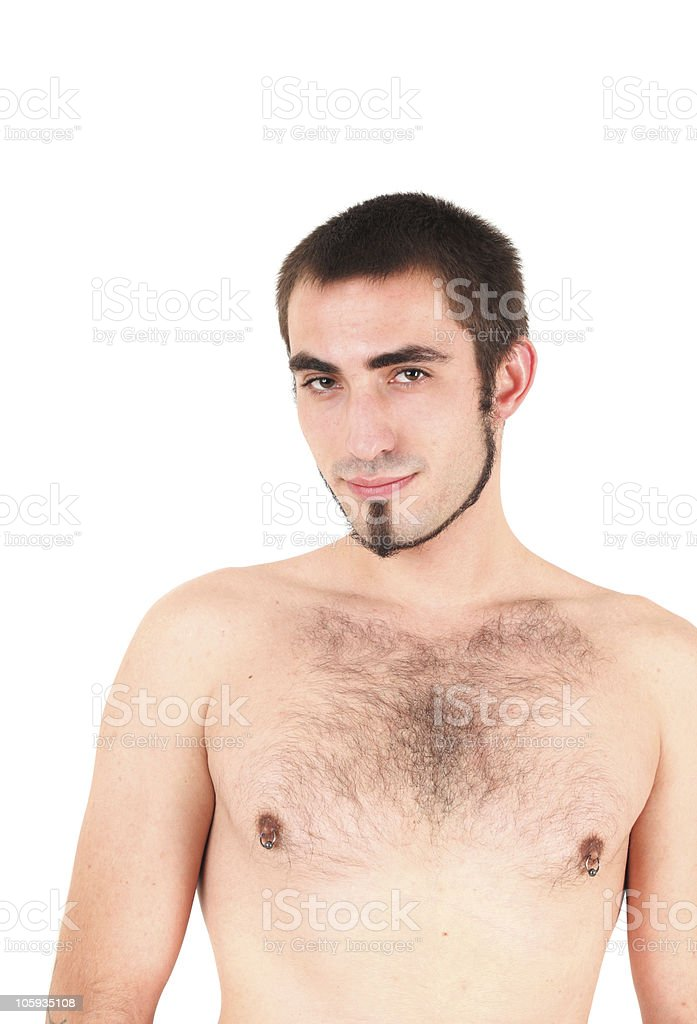 Bare-chested man stock photo