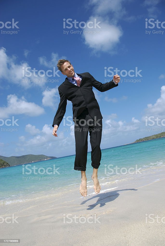 Barefoot Bouncing Businessman royalty-free stock photo