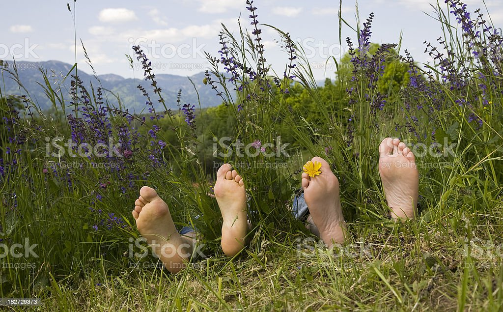 barefoot for two, royalty-free stock photo