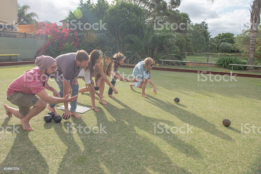Barefoot lawn bowls stock photo