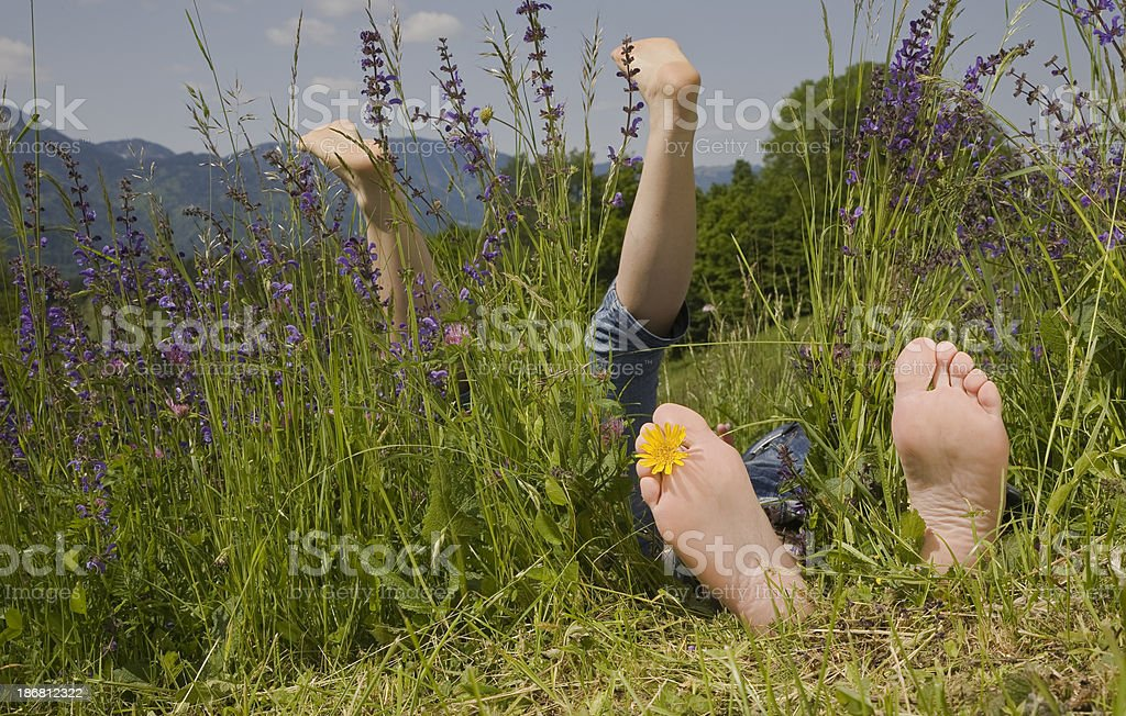 barefoot on a mountain meadow royalty-free stock photo