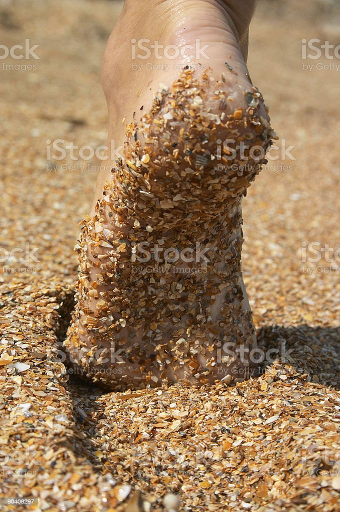 barefoot sole in sand royalty-free stock photo