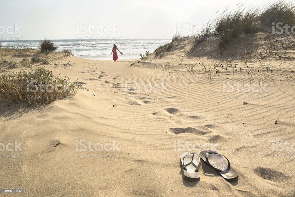 Barefoot walk stock photo