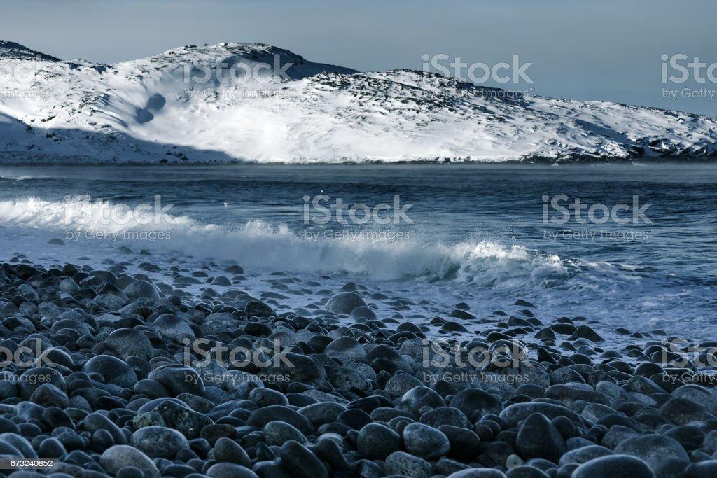 Barents Sea in Arctic Ocean. Kola Peninsula, Russia stock photo