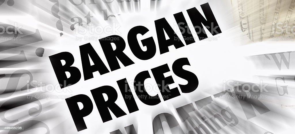 'Bargain Prices' announcement with dramatic motion blur stock photo