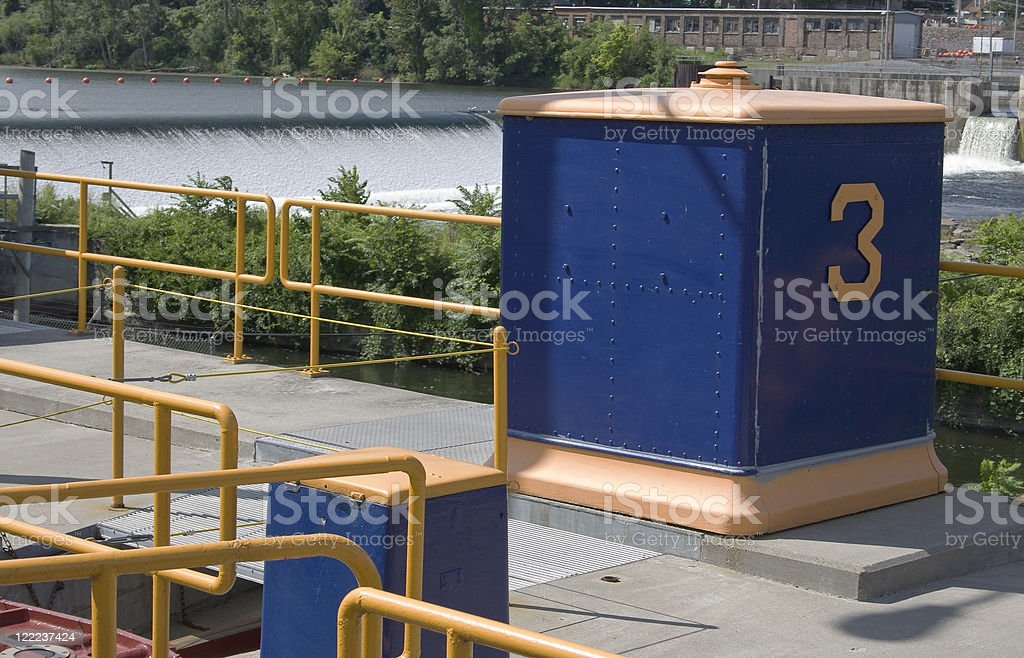 Barge Canal Lock Three stock photo