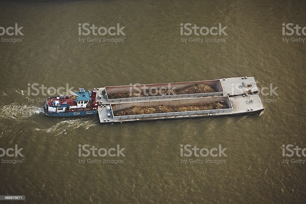 Barge from above stock photo