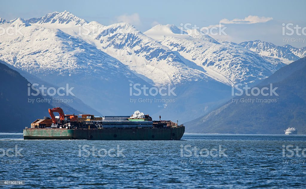 Barge in Southeast Alaska stock photo