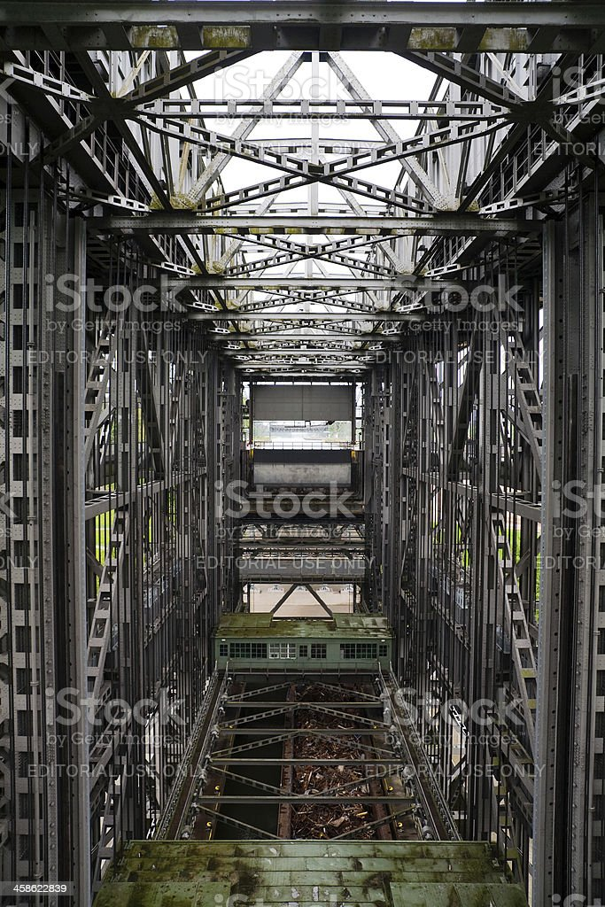 Barge inside the Niederfinow boat lift stock photo