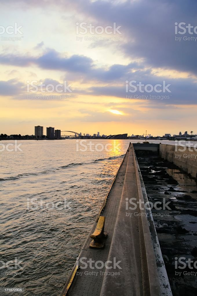 Barge on a river royalty-free stock photo
