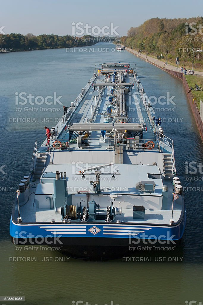 Barge on canal stock photo