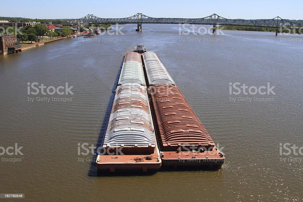 Barge on Illinois River stock photo