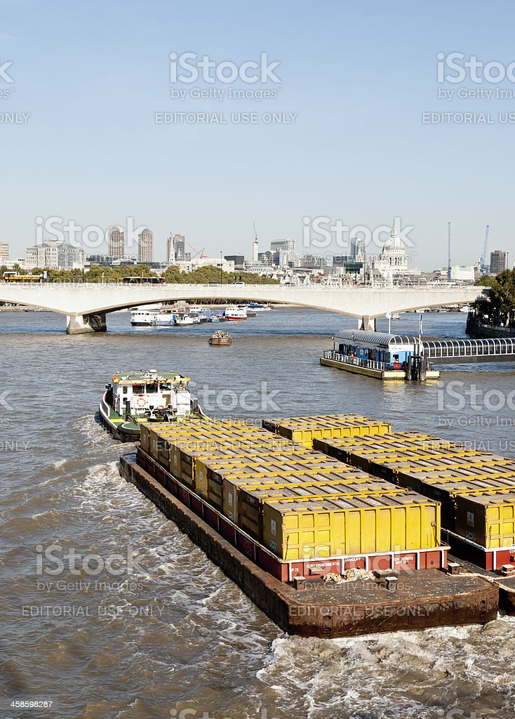 Barge on River Thames - London stock photo