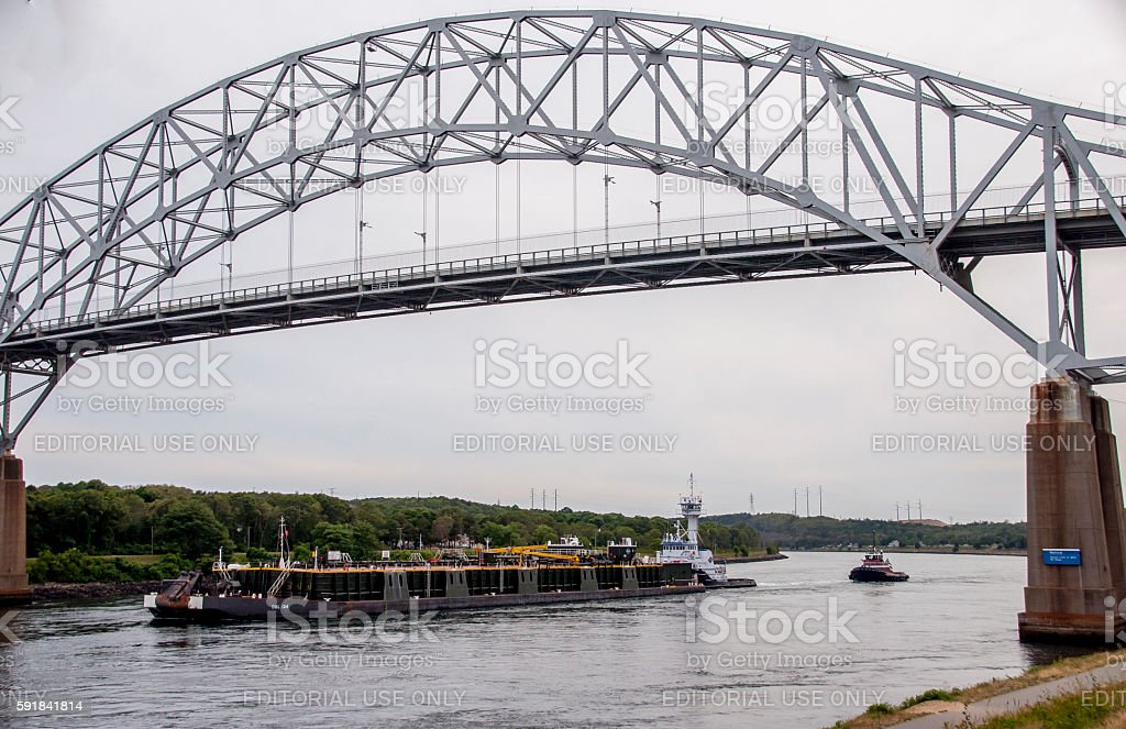 Barge on the Cape Cod Canal stock photo