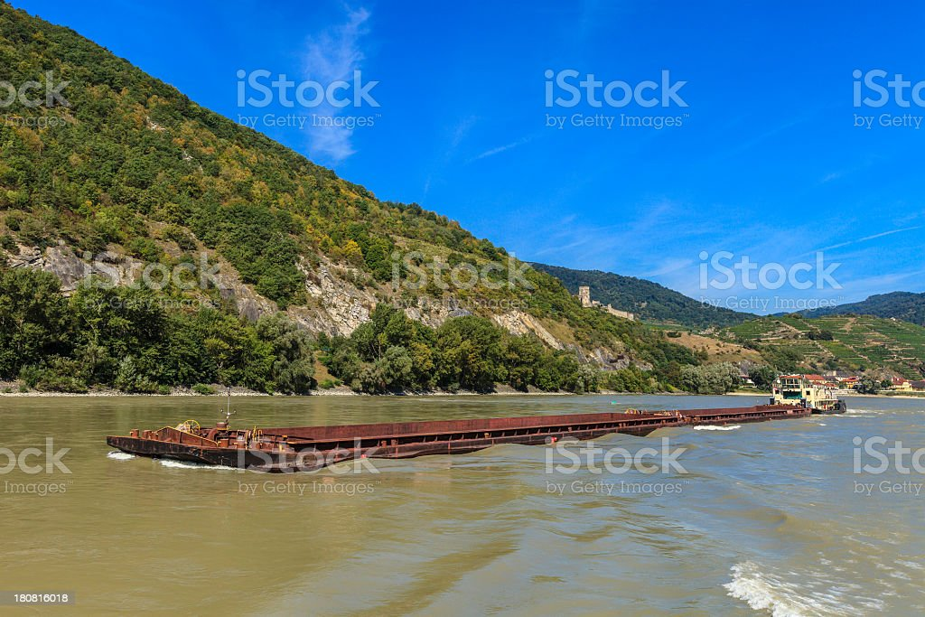 Barge on the Danube river, Austria royalty-free stock photo