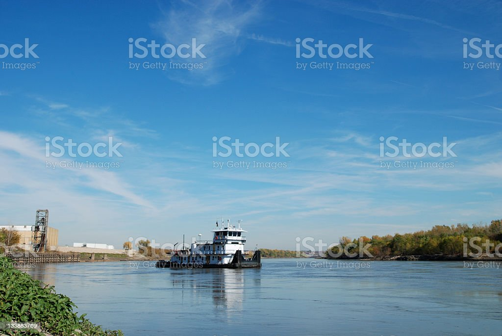 Barge on the Missouri River stock photo