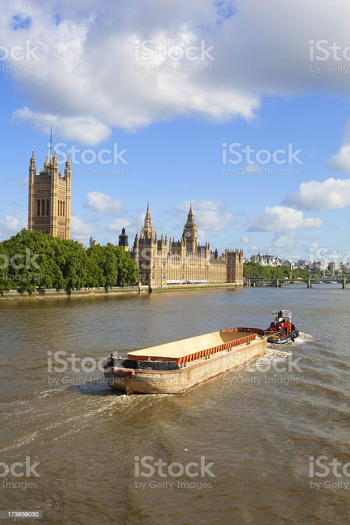 Barge & Parliament stock photo
