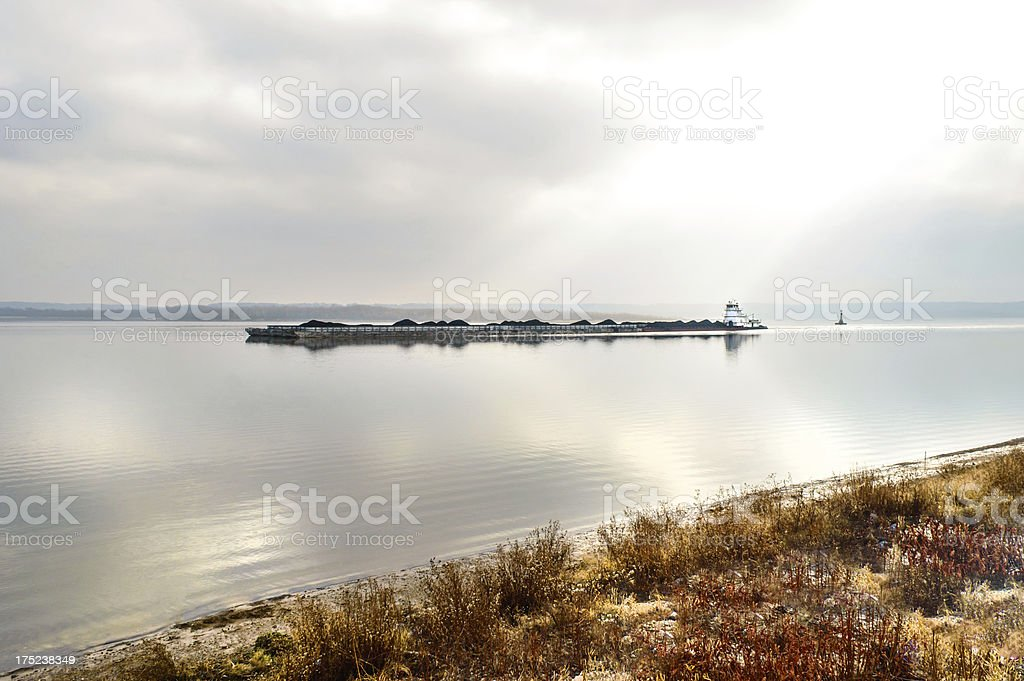 Barge traveling on the Illinois River royalty-free stock photo