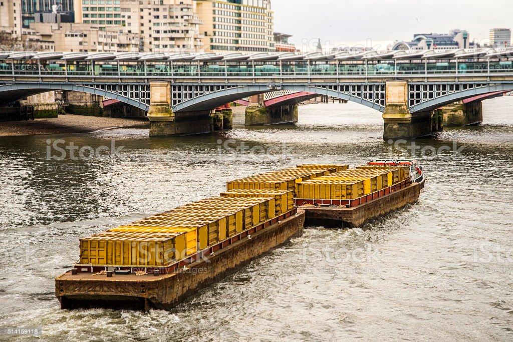 Barge with containers stock photo
