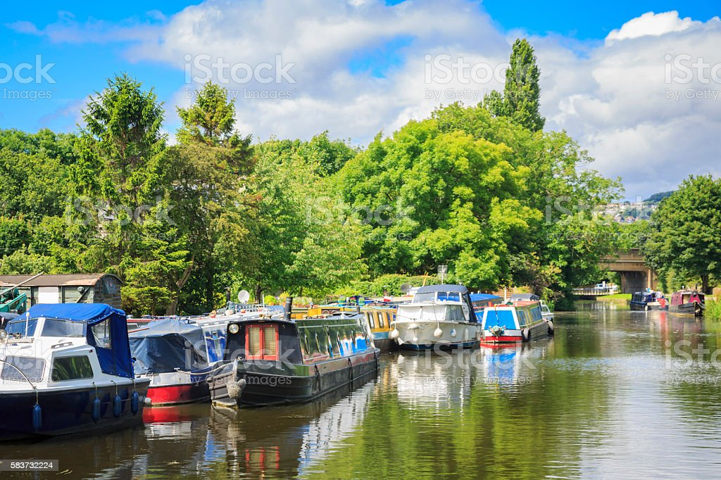 Barges and boats on the Leeds Liverpool canal near Rodley stock photo
