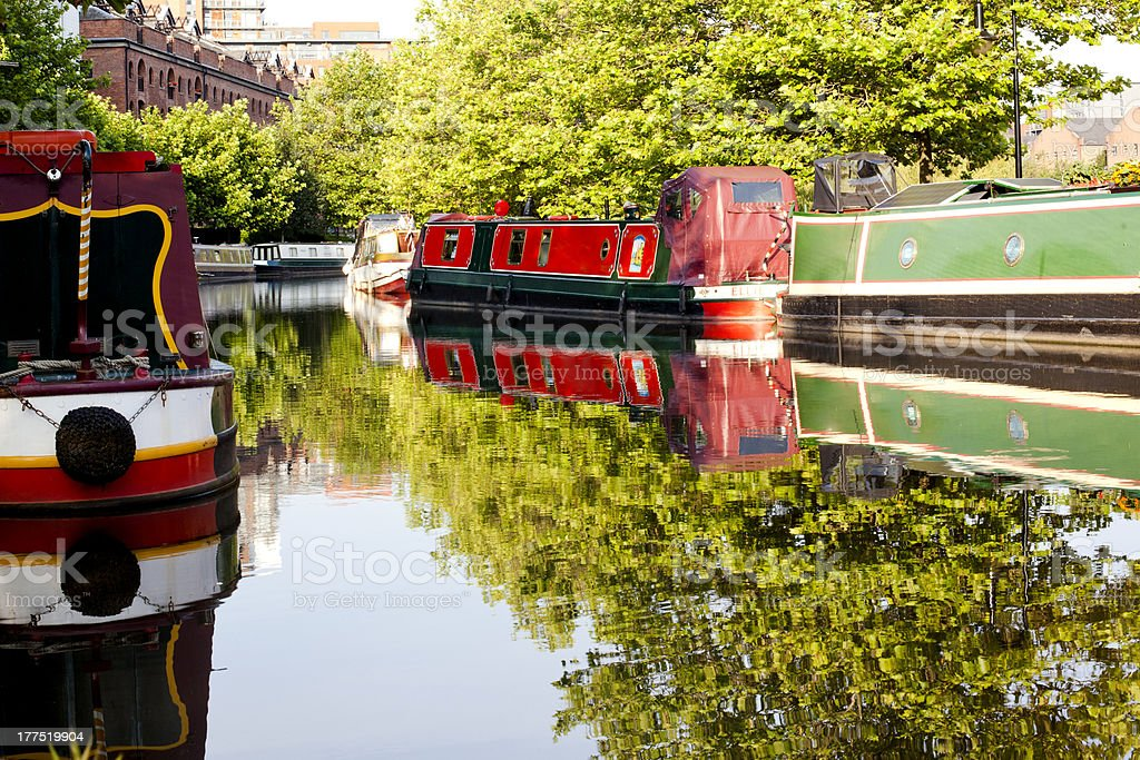 Barges floating on the Canal stock photo