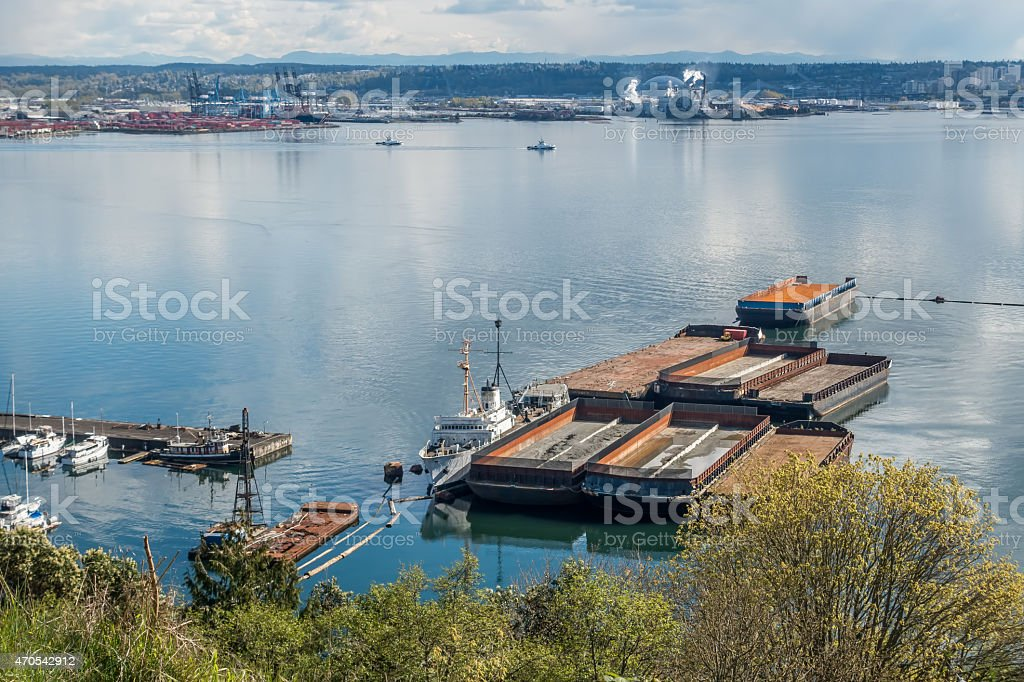 Barges Near Port Of Tacoma stock photo