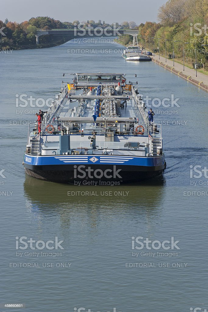 Barges on canal stock photo