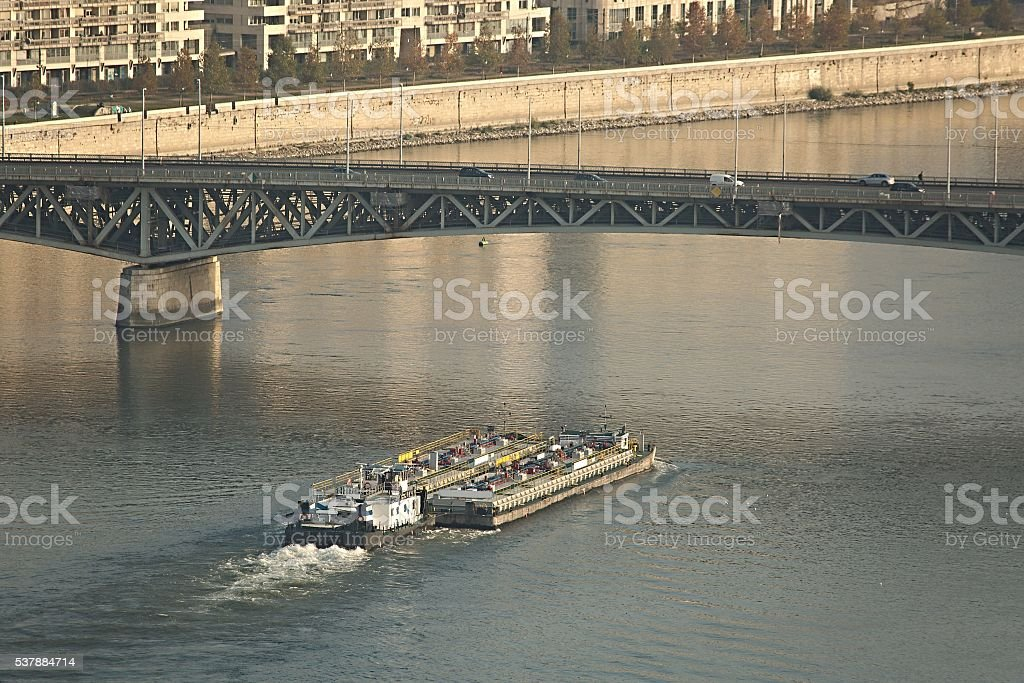 Barges on the river stock photo