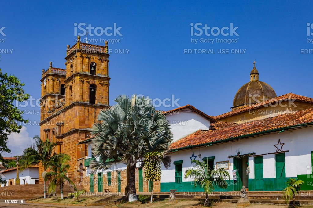 Barichara, Colombia - Historic 18th Century Cathedral on the 300 Year Old Town Square on the Andes Mountains stock photo