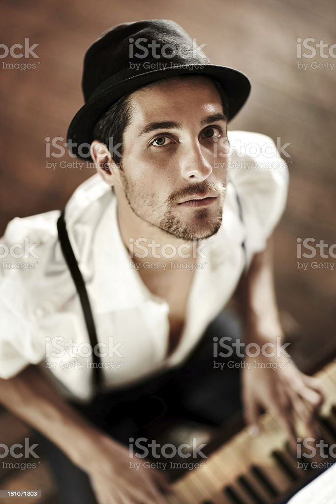 Baring his soul through music stock photo