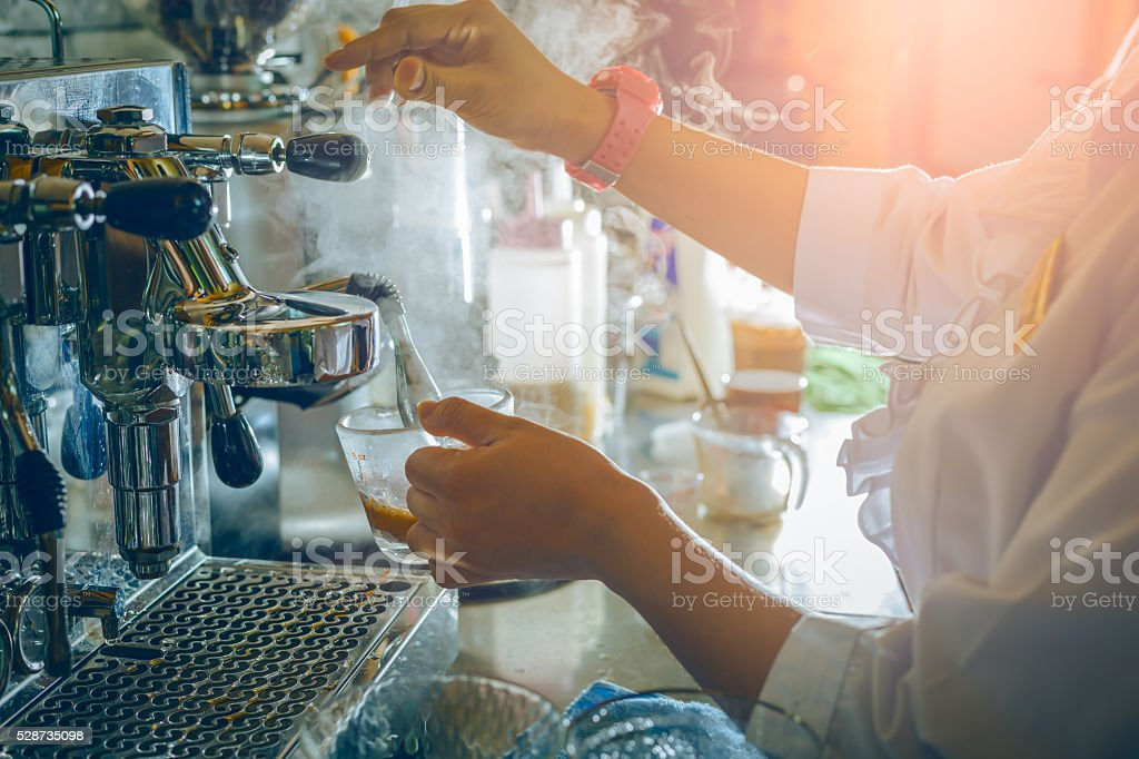 Barista Cafe Making Coffee stock photo