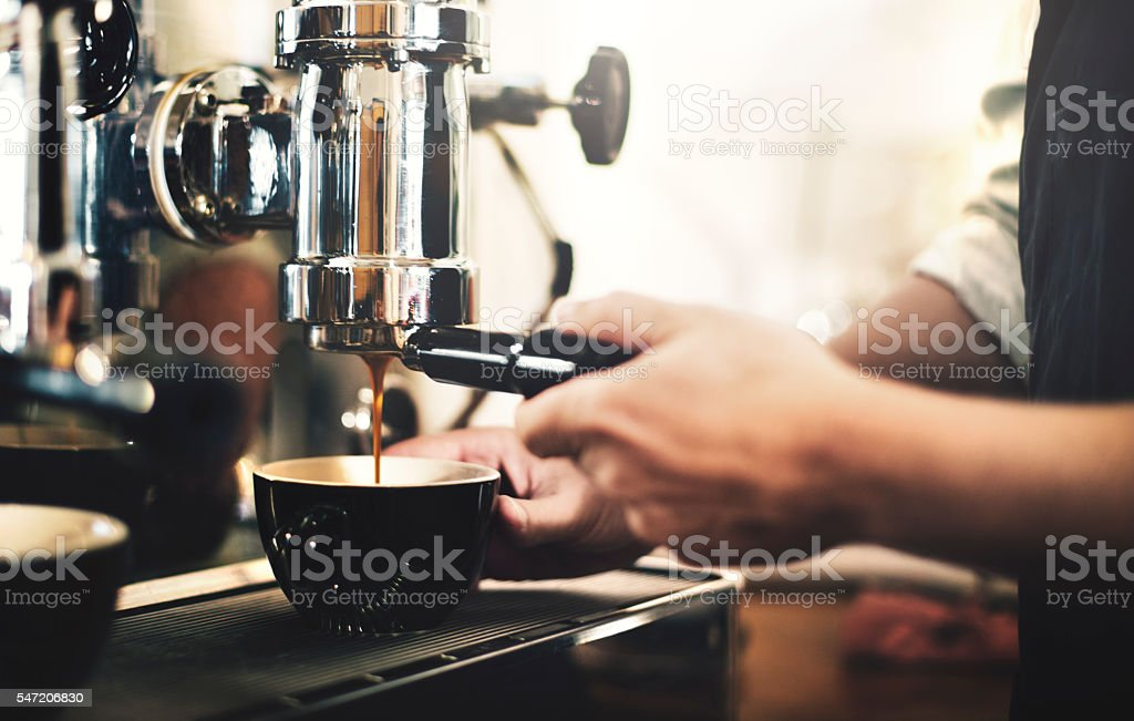 Barista Cafe Making Coffee Preparation Service Concept stock photo