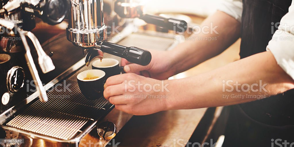 Barista Coffee Maker Machine Grinder Portafilter Concept stock photo