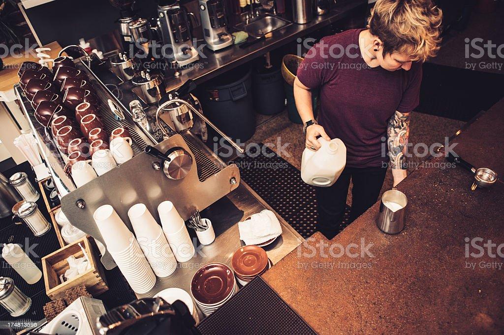 Barista Coffee Preparation stock photo