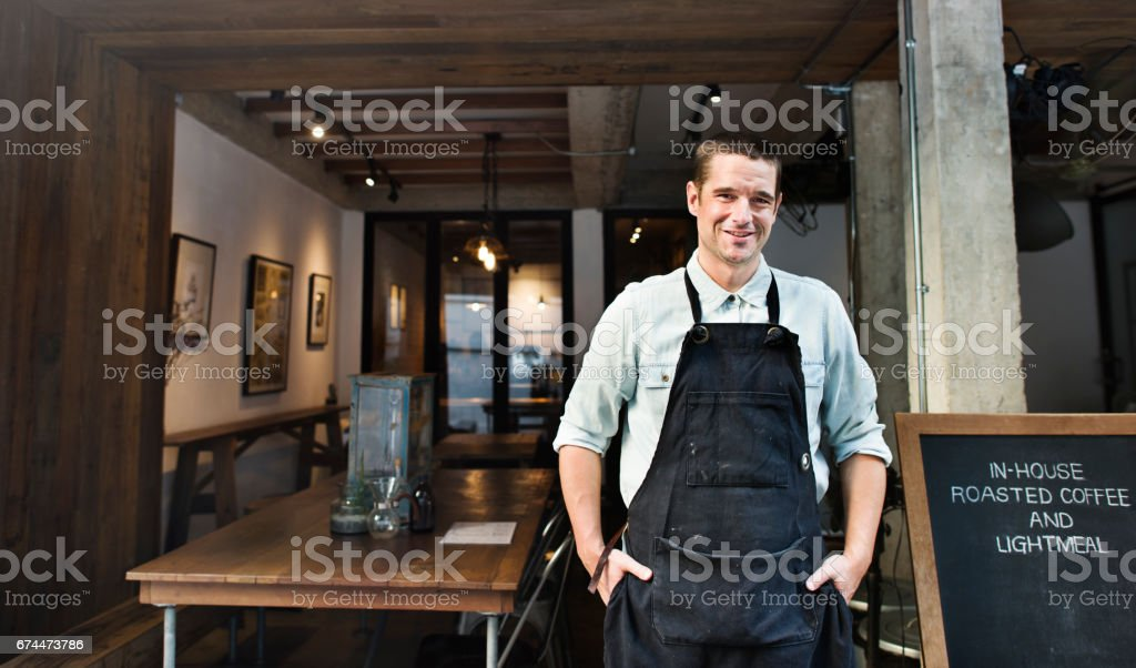 Barista Coffee Steam Cafe Apron Drink Business Concept stock photo