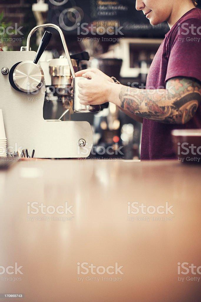 Barista Espresso Preparation stock photo
