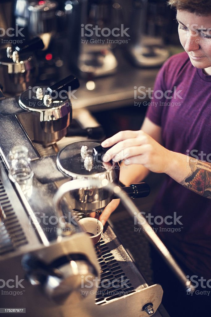 Barista Espresso Preparation stock photo