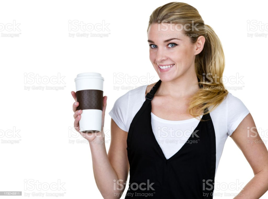 Barista holding a coffee to go cup royalty-free stock photo
