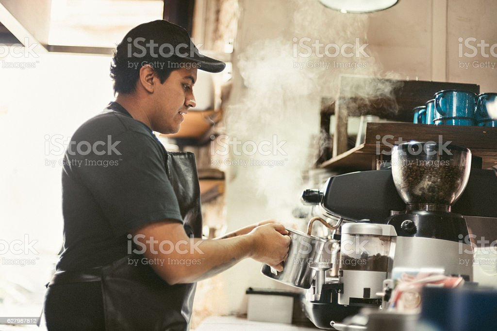 Barista Making Fresh Coffee stock photo
