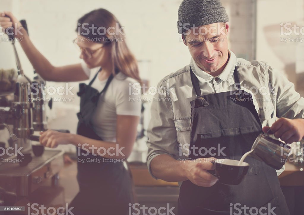 Barista Parepare Coffee Working Order Concept stock photo