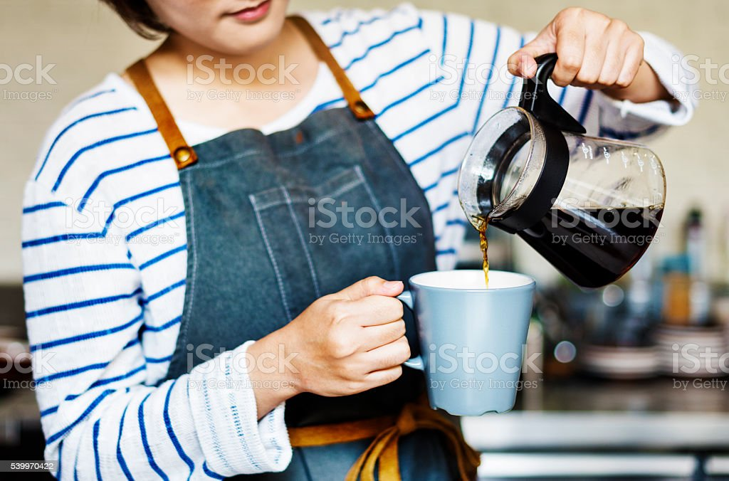 Barista Pouring Cafe Coffee Occupation Steam Concept stock photo