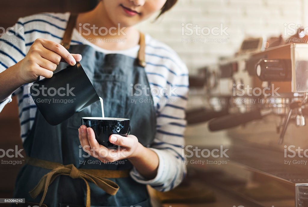 Barista Prepare Coffee Working Order Concept stock photo