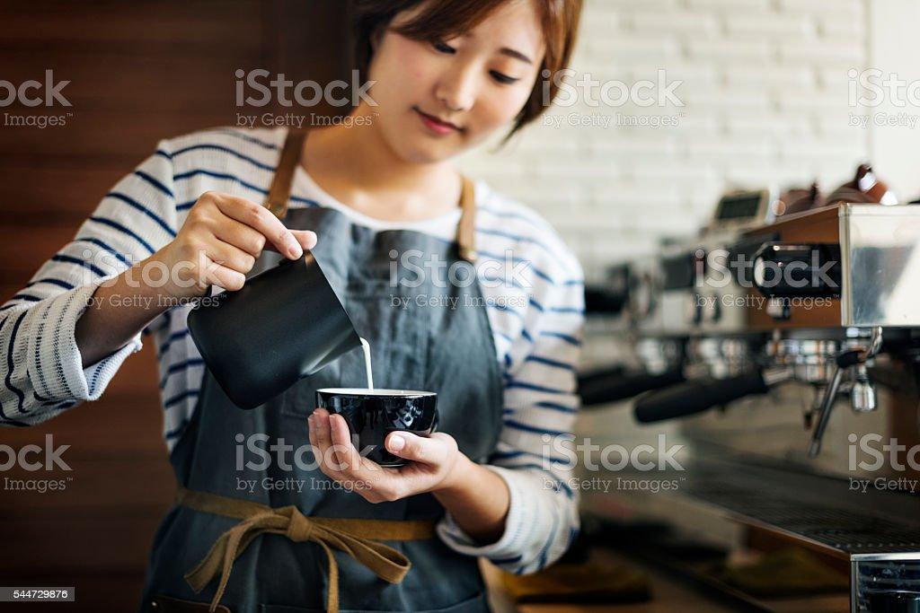 Barista Prepare Coffee Working Order Concept stock photo