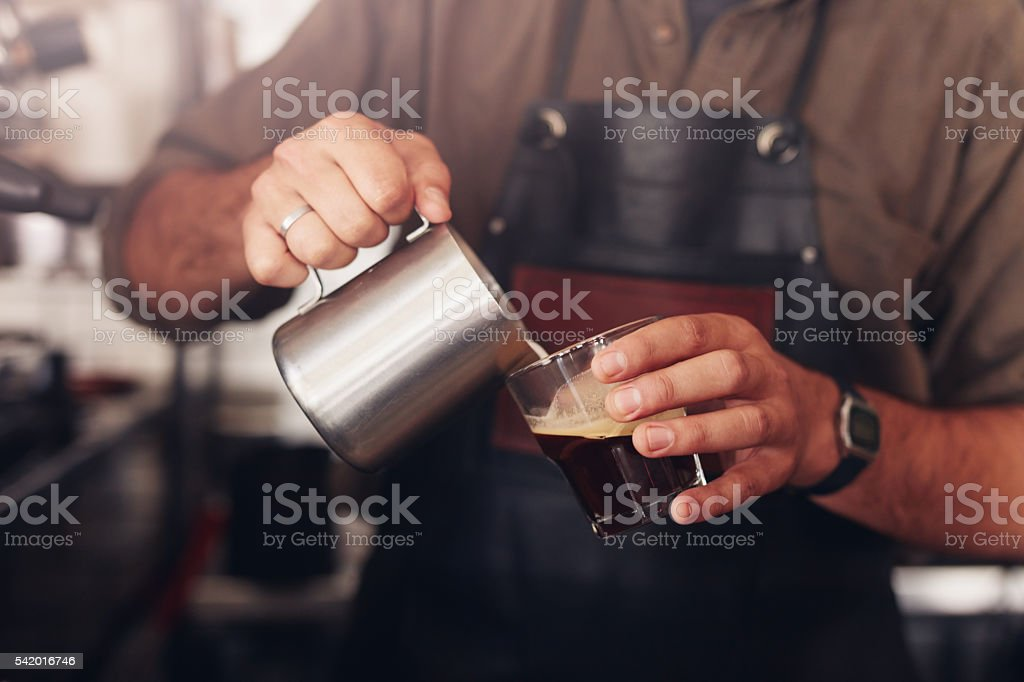 Barista preparing coffee stock photo