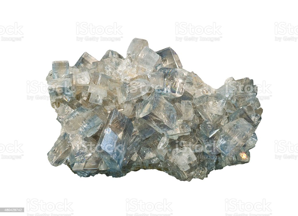 Barite crystals isolated on white. About 8 cm long. stock photo