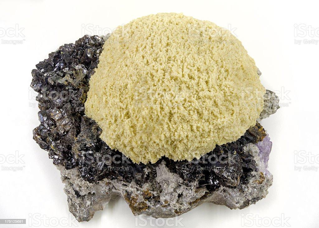 Barite Sphalerite museum mineral on display stock photo