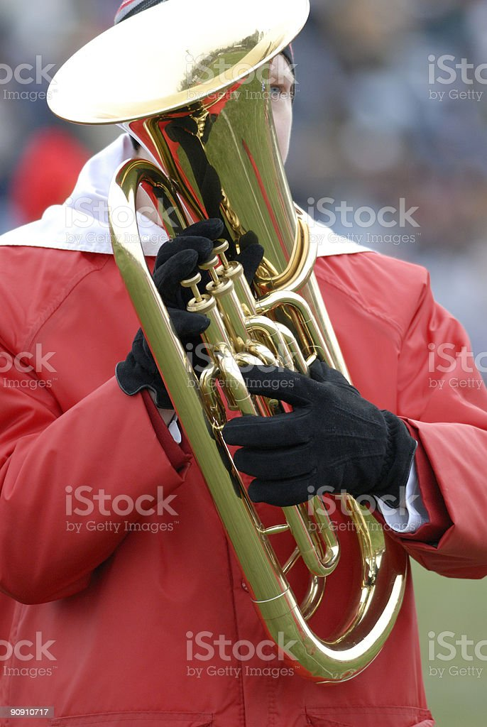 Baritone in the high school band stock photo