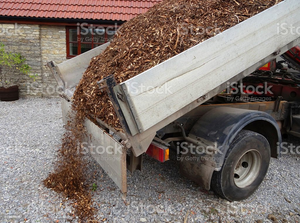 Bark mulch wood chips on van, unloaded / garden landscaping project stock photo