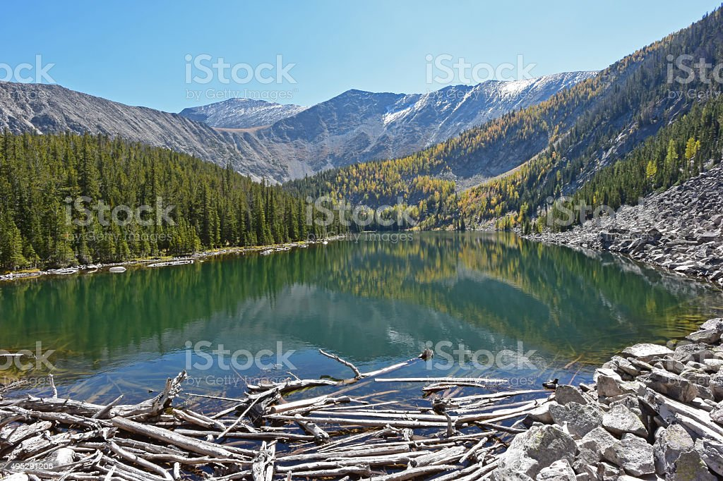 Barker Lake in the Anaconda Range, Montana stock photo